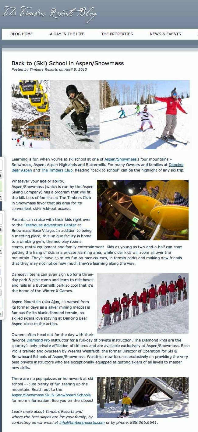 Back to (Ski) School in Aspen-Snowmass - Timbers Resorts copy