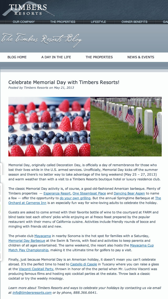 Celebrate Memorial Day with Timbers Resorts    Timbers Resorts copy