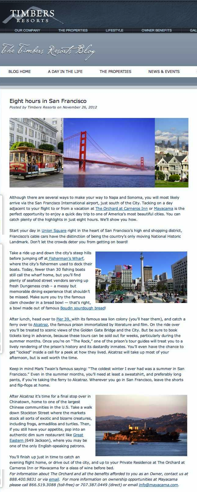 Eight hours in San Francisco - Timbers Resorts copy
