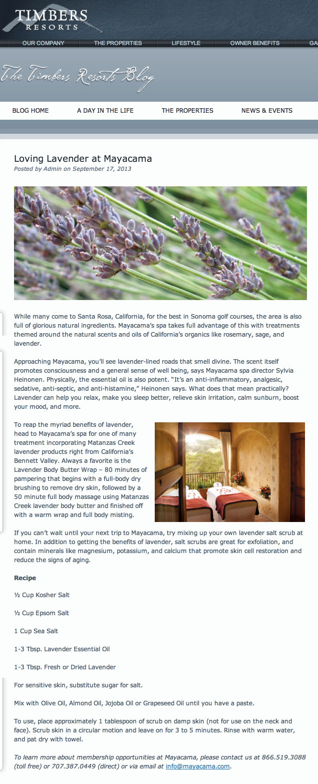 Loving Lavender at Mayacama   Timbers Resorts copy