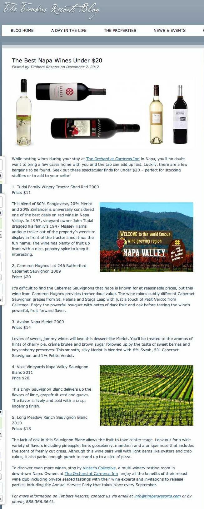 The Best Napa Wines Under $20 - Timbers Resorts