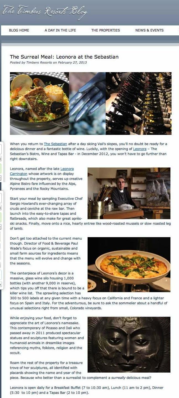 The Surreal Meal- Leonora at the Sebastian - Timbers Resorts copy