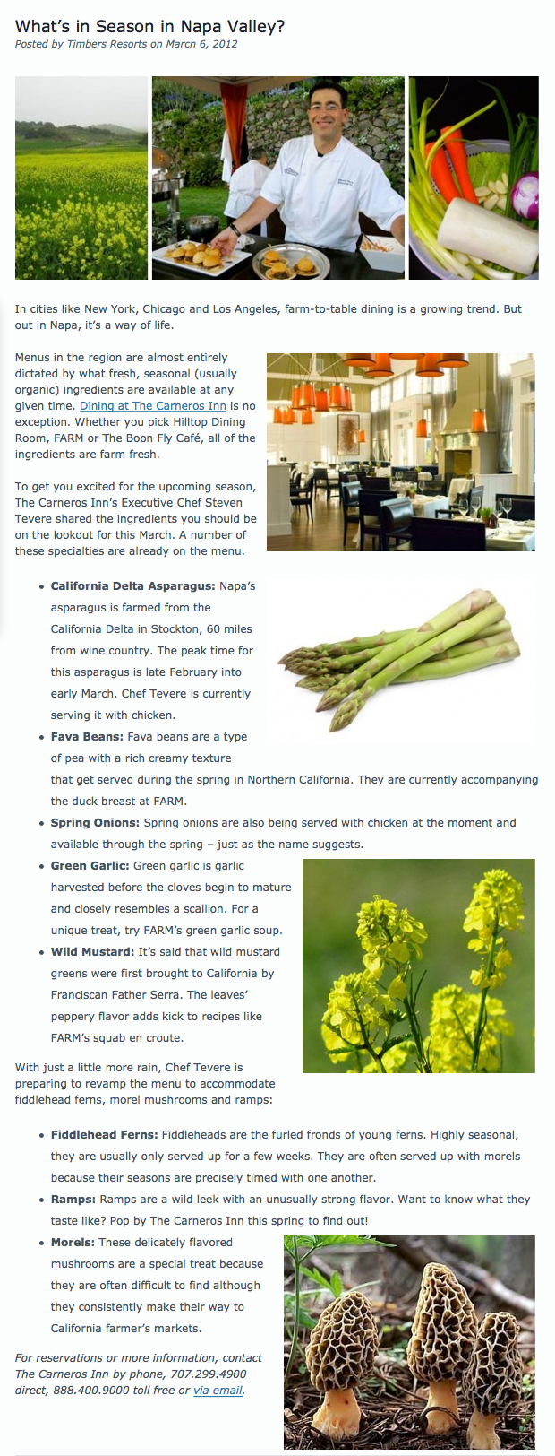 What's in Season in Napa Valley
