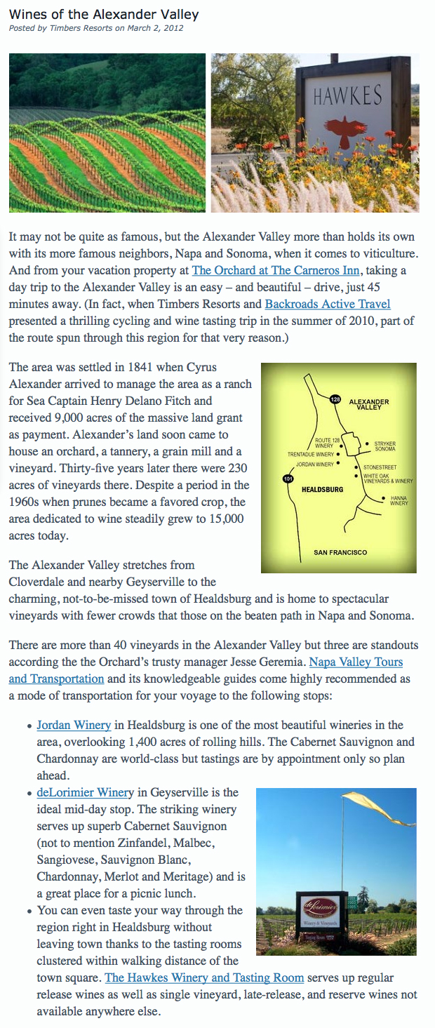 Wines of the Alexander Valley
