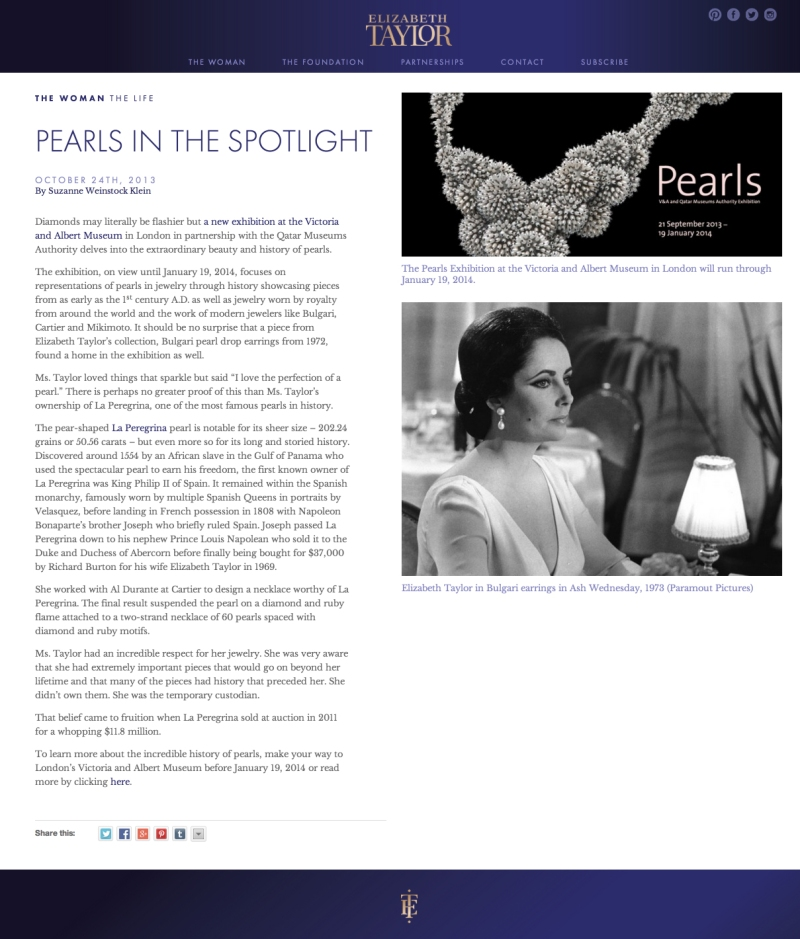 Pearls in the Spotlight   Elizabeth Taylor copy